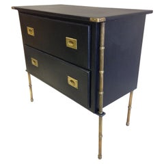 Rare French Handstitched Leather and Brass Faux Bamboo Commode by Jacques Adnet