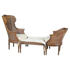 Rare French Louis XVI Carved Walnut Caned Duchess Brisee 3 PC Chaise Daybed