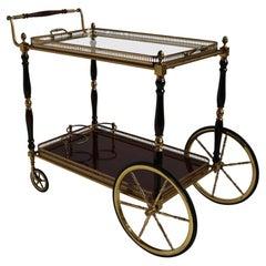 Rare French Maison Bagués Design Bar Cart Trolley Cocktail Brass Mahogany Glass