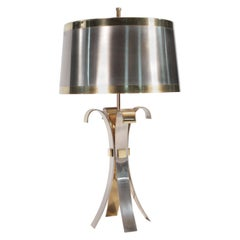 Rare French Maison Charles Brass Steel Corolle Lamp, 1970s