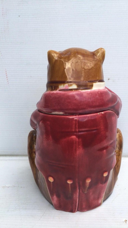 Rare French Majolica bulldog wearing a red jacket tobacco jar circa 1890.