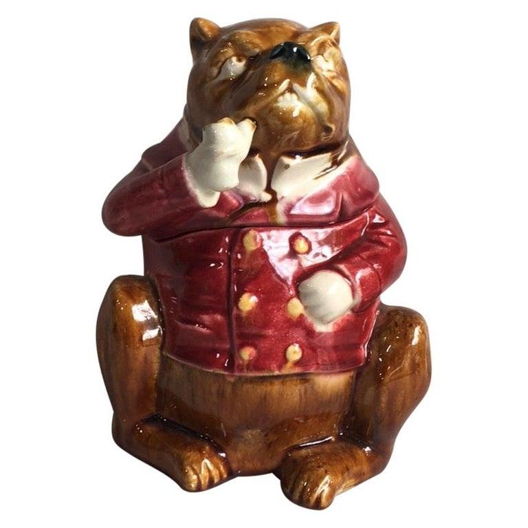 Rustic Rare French Majolica Bulldog Tobacco Jar, Circa 1890 For Sale