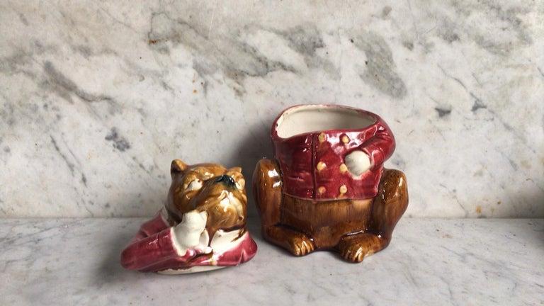 Rare French Majolica Bulldog Tobacco Jar, Circa 1890 In Good Condition For Sale In The Hills, TX