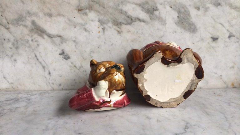 Late 19th Century Rare French Majolica Bulldog Tobacco Jar, Circa 1890 For Sale