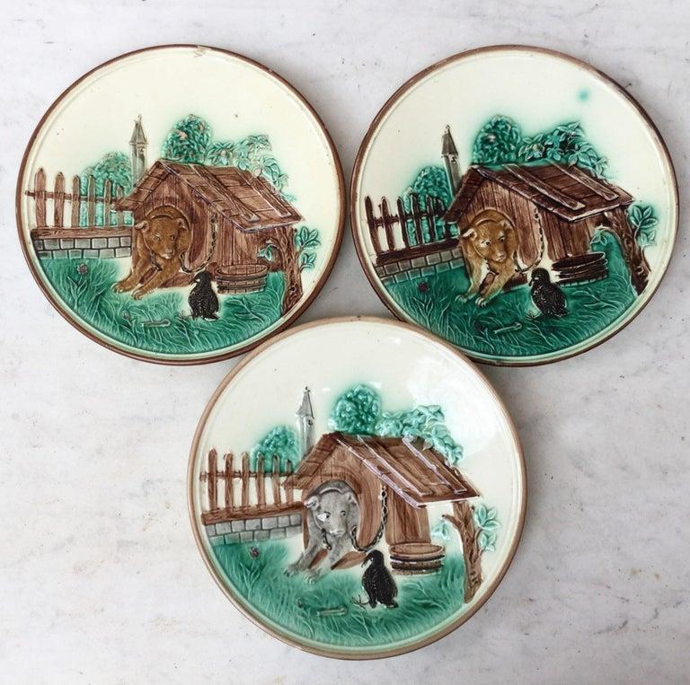 Ceramic Rare French Majolica Bulldog Tobacco Jar, Circa 1890 For Sale