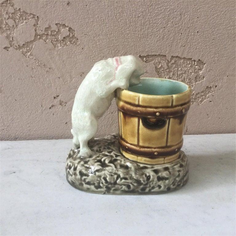 Rare French Majolica Bulldog Tobacco Jar, Circa 1890 For Sale 2