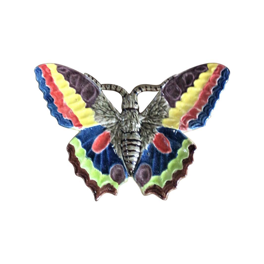 Rare French Majolica Butterfly Wall Pocket, circa 1880