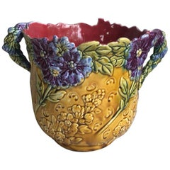 Rare French Majolica Cache Pot with Purple Flowers Onnaing, circa 1890