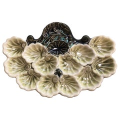 Rare French Majolica Oyster Platter Orchies, circa 1900
