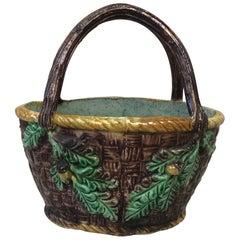Rare French Majolica Palissy Basket Thomas Sergent, circa 1880