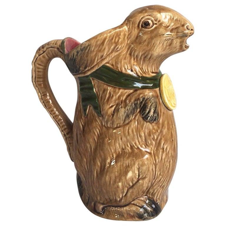 Rare French Majolica Rabbit Pitcher, circa 1900 For Sale