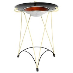 Rare French Midcentury Side Table with String Frame and Enameled Aluminum Bowl