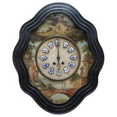 Rare French Napoleon III Oeil De Boeuf Hand Painted Wall Mounted Pendulum Clock
