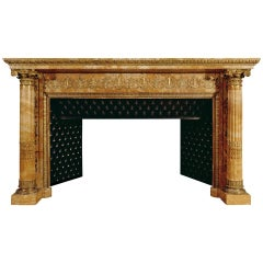 Rare French Napoleonic Empire Sienna Marble Fireplace Mantel