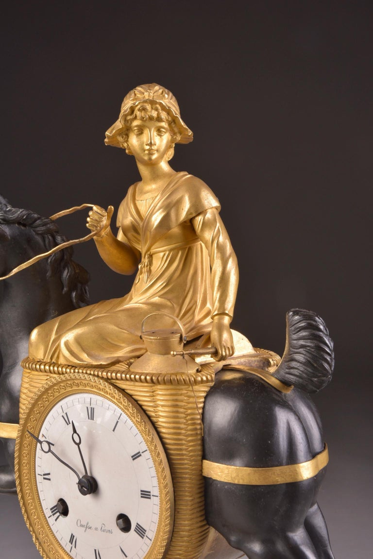 Rare French Patinated Gilt Bronze Clock of the Girl, La Laitiere, circa 1810 For Sale 5