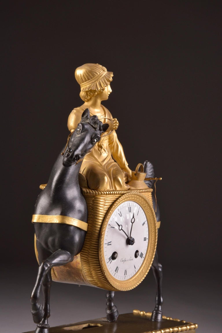 Rare French Patinated Gilt Bronze Clock of the Girl, La Laitiere, circa 1810 For Sale 1
