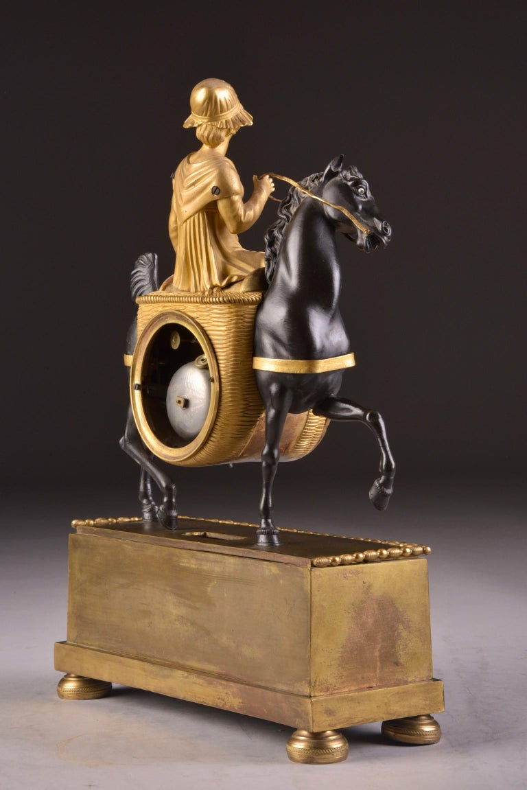 Rare French Patinated Gilt Bronze Clock of the Girl, La Laitiere, circa 1810 For Sale 2