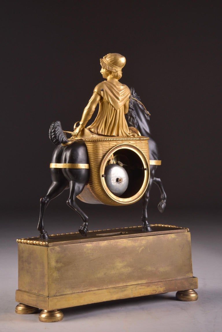 Rare French Patinated Gilt Bronze Clock of the Girl, La Laitiere, circa 1810 For Sale 3
