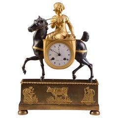 Rare French Patinated Gilt Bronze Clock of the Girl, La Laitiere, circa 1810