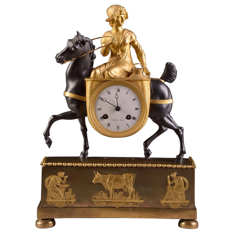 Rare French Patinated Gilt Bronze Clock of the Girl, La Laitiere, circa 1810 For Sale