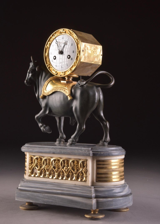 Rare French Patinated Gilt Bronze Directoire/Louis XVI Bull Clock, Gaston Jolly 7