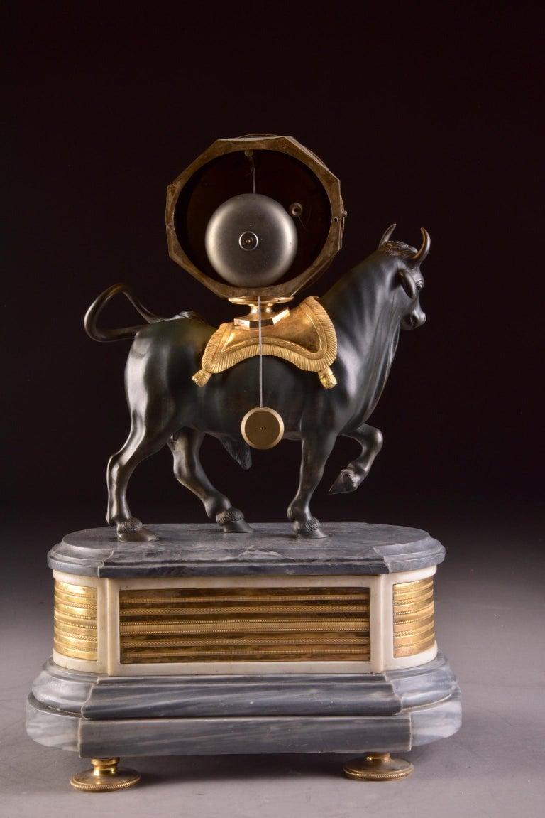 Rare French Patinated Gilt Bronze Directoire/Louis XVI Bull Clock, Gaston Jolly 9