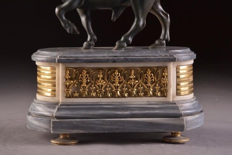 18th Century Rare French Patinated Gilt Bronze Directoire/Louis XVI Bull Clock, Gaston Jolly