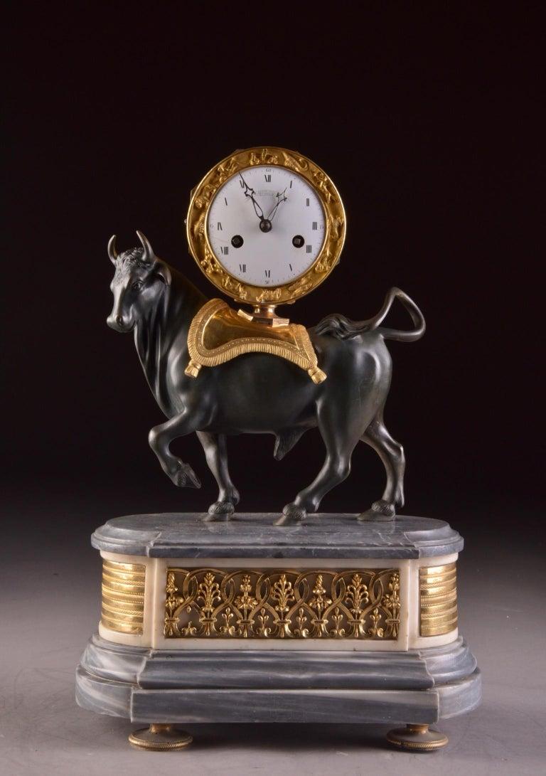 Rare French Patinated Gilt Bronze Directoire/Louis XVI Bull Clock, Gaston Jolly 1