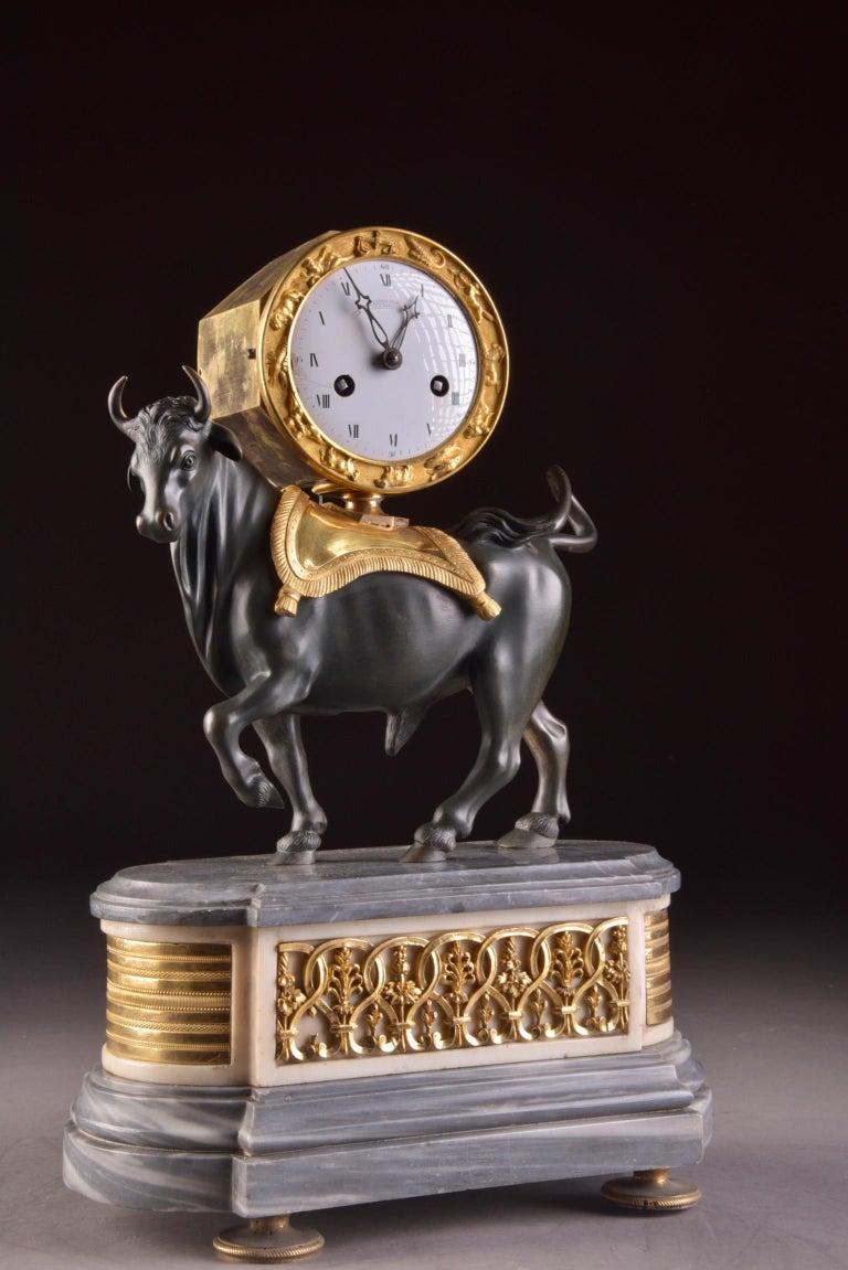 Rare French Patinated Gilt Bronze Directoire/Louis XVI Bull Clock, Gaston Jolly 3