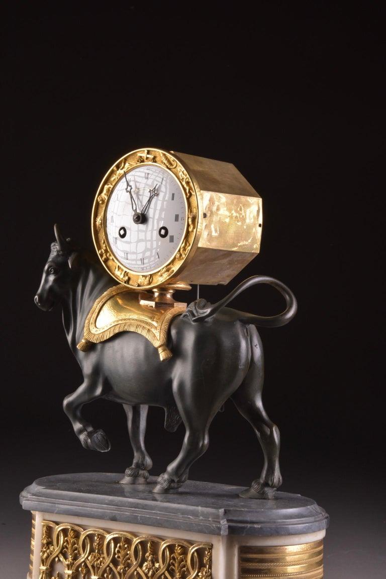 Rare French Patinated Gilt Bronze Directoire/Louis XVI Bull Clock, Gaston Jolly 4