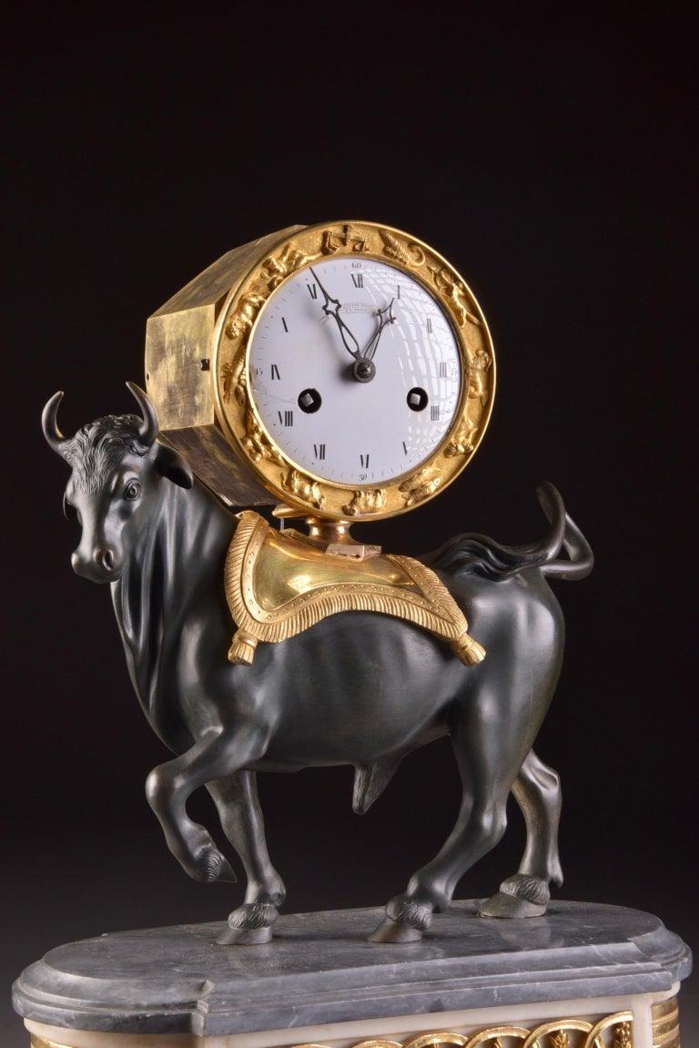 Rare French Patinated Gilt Bronze Directoire/Louis XVI Bull Clock, Gaston Jolly 5