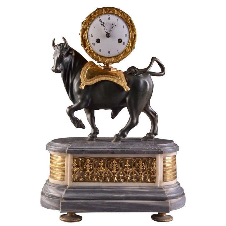 Rare French Patinated Gilt Bronze Directoire/Louis XVI Bull Clock, Gaston Jolly