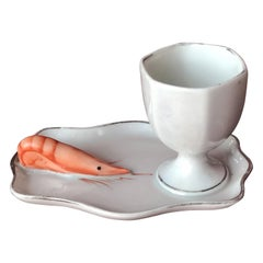 Rare French Porcelain Egg Cup with a Shrimp Aside by Dadat Limoge