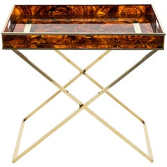 Rare French Side Tray Table Faux Tortoise Brass Maison Mercier, 1970s