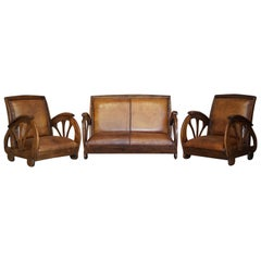 Rare French Suite of Oak Art Deco Brown Saddle Leather Sofa & Pair of Armchairs