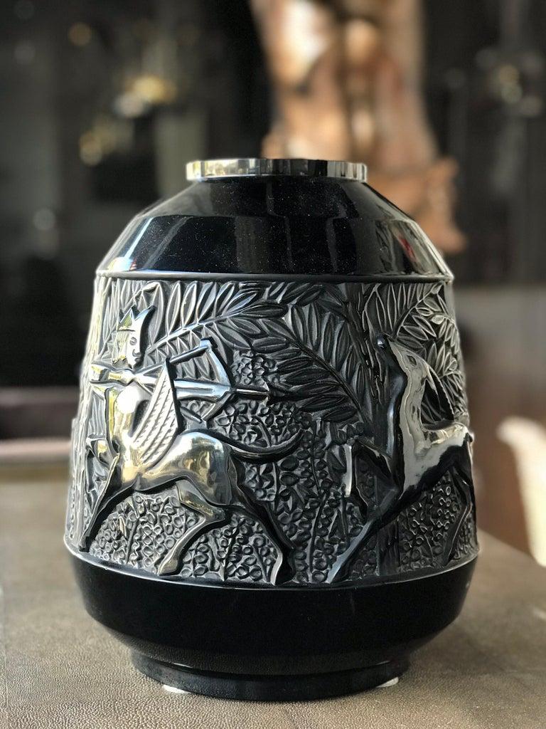 Art Glass Rare French Verlys Black Glass Art Deco Vase For Sale