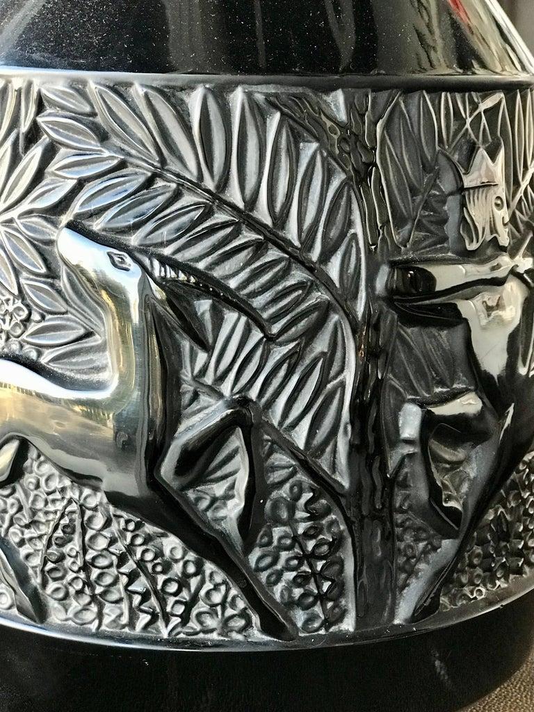 Rare French Verlys Black Glass Art Deco Vase For Sale 2