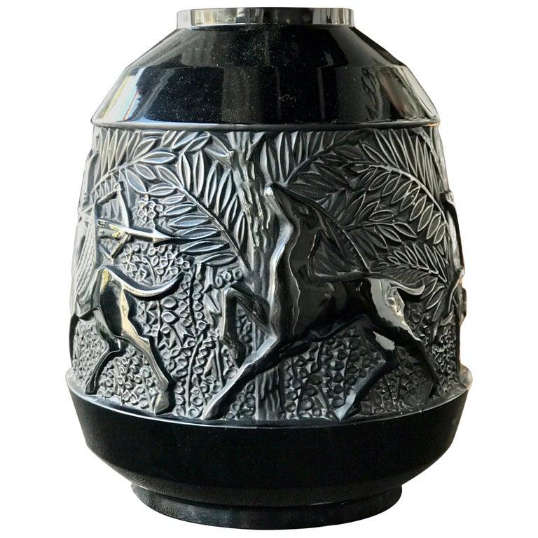 Rare French Verlys Black Glass Art Deco Vase For Sale