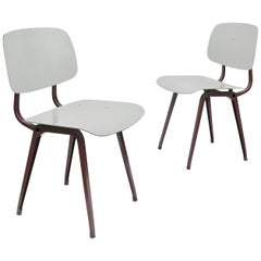 "Rare Friso Kramer ""Revolt"" Chairs in Burgundy Red and Grey"