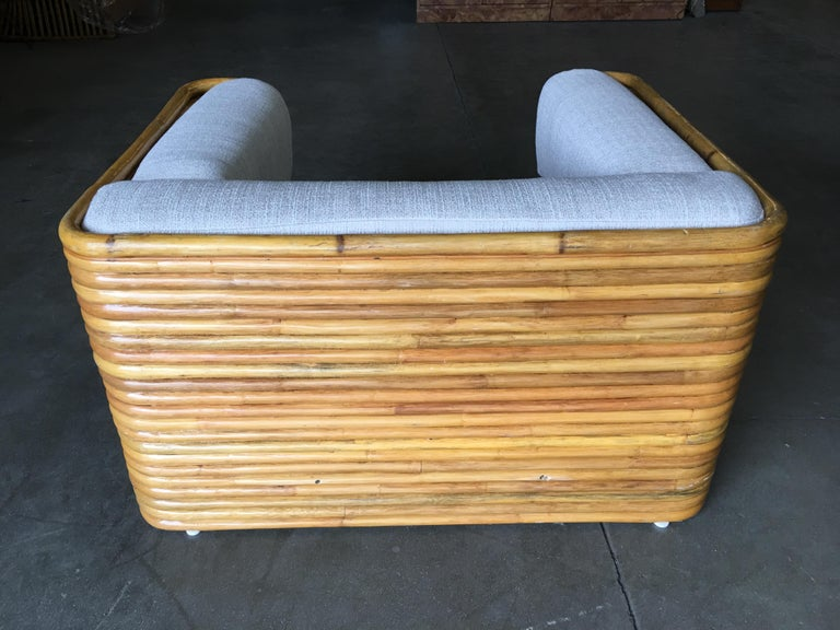 Rare Full Stacked Rattan Lowboy Lounge Chair, Pair For Sale 4