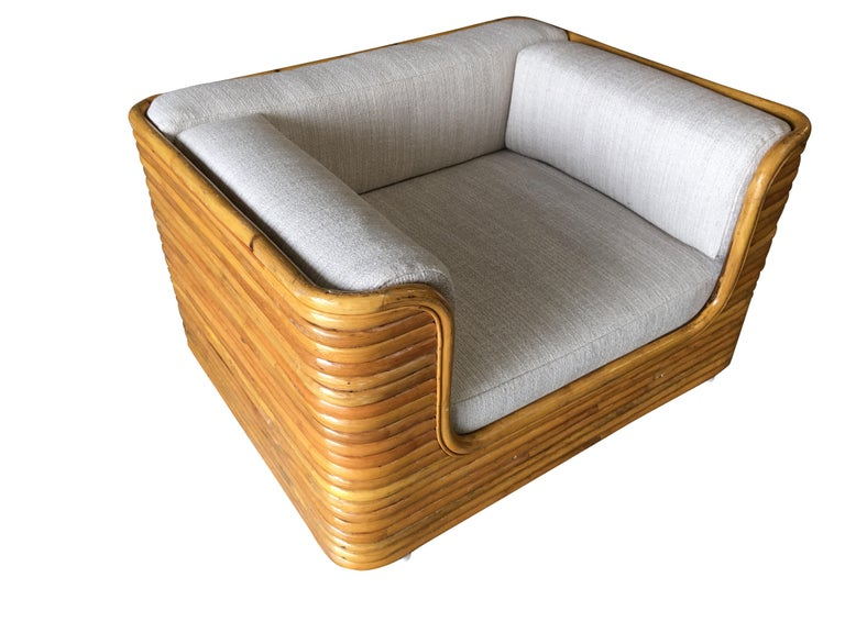 Modern Rare Full Stacked Rattan Lowboy Lounge Chair, Pair For Sale