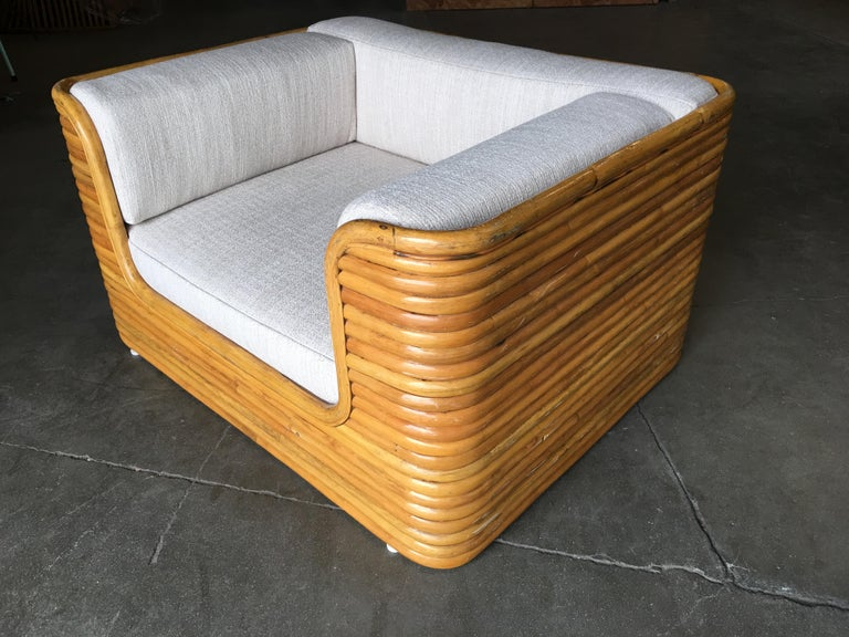 Rare Full Stacked Rattan Lowboy Lounge Chair, Pair In Excellent Condition For Sale In Van Nuys, CA