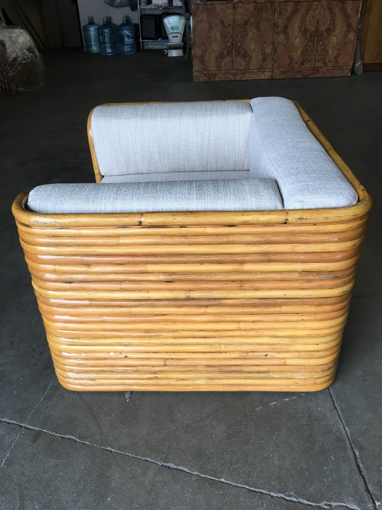 Rare Full Stacked Rattan Lowboy Lounge Chair, Pair For Sale 1