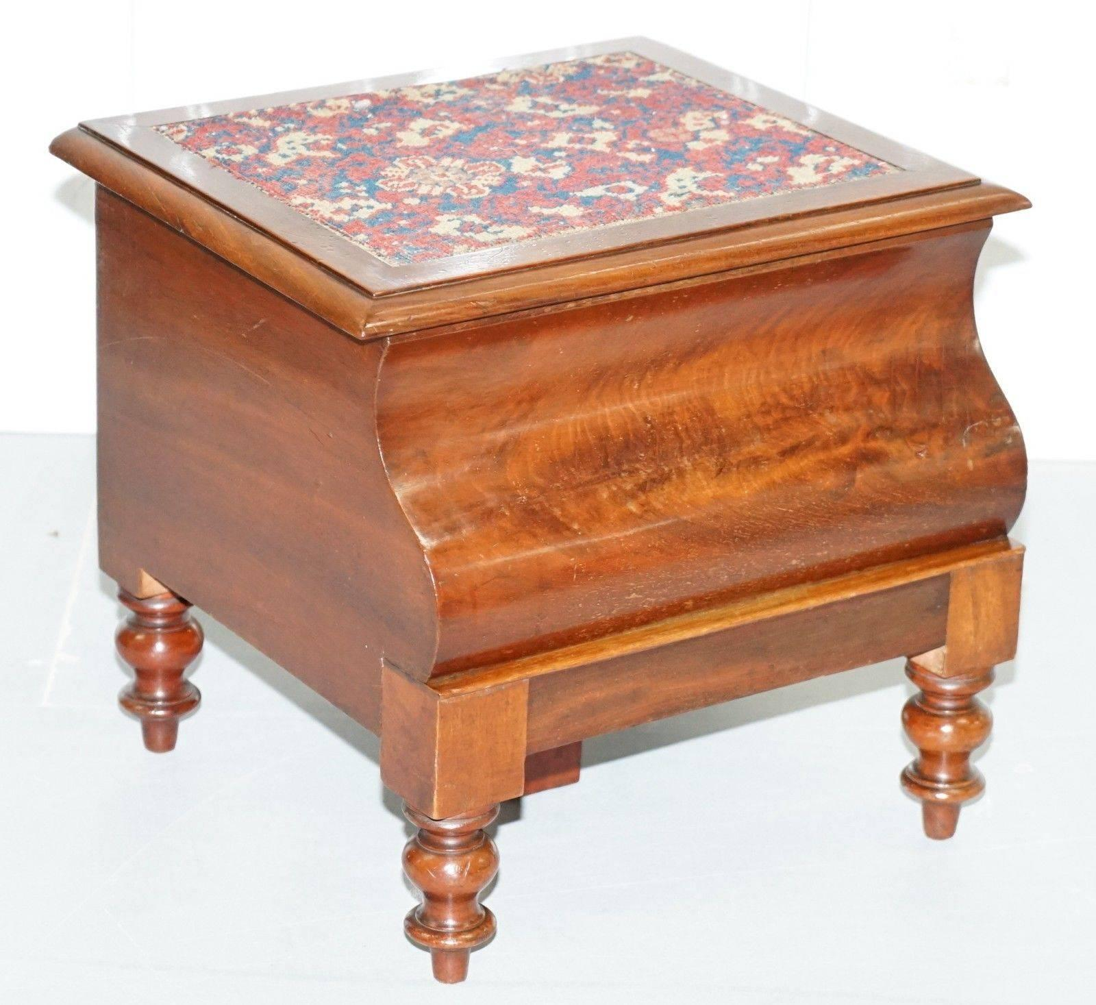 Merveilleux Rare Fully Complete Victorian American Bed Step Stool With Built In Chamber  Pot For Sale At 1stdibs