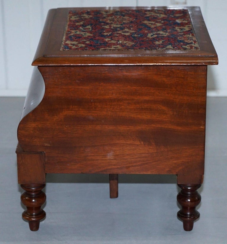 Rare Fully Complete Victorian American Bed Step Stool With