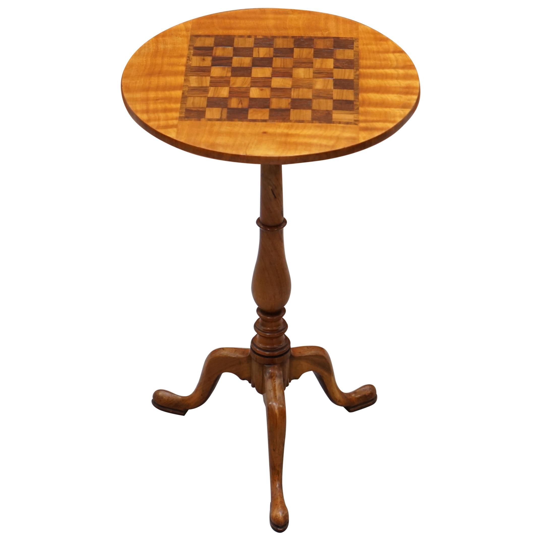 Rare Fully Restored Victorian Walnut & Hardwood Inlaid Chess Games Tripod Table
