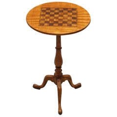 Rare Fully Restored Victorian Walnut & Hardwood Inlaid Chess Games Tripod Table
