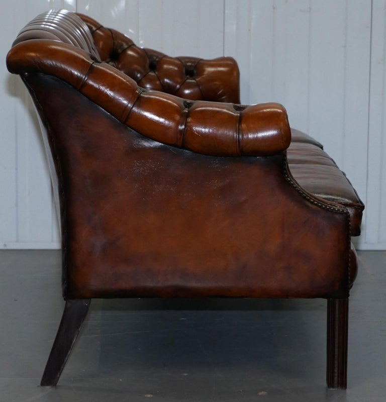 Rare Fully Restored Vintage Cigar Brown Leather Chesterfield Club 3-Seat Sofa For Sale 5