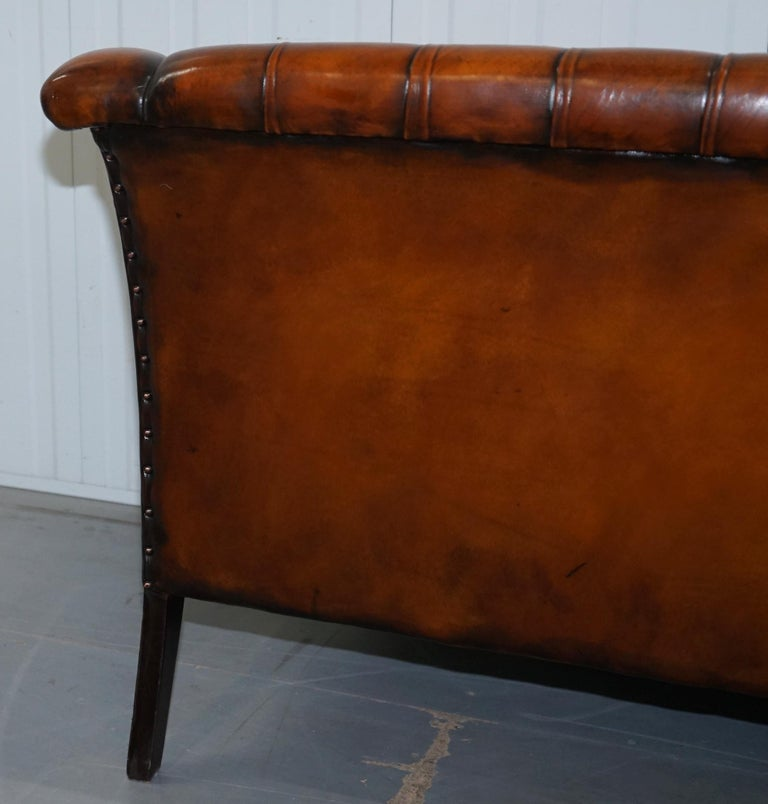 Rare Fully Restored Vintage Cigar Brown Leather Chesterfield Club 3-Seat Sofa For Sale 7
