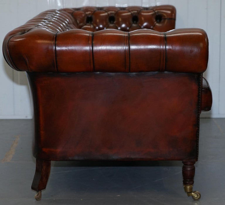 Rare Fully Restored Vintage Cigar Brown Leather Chesterfield Club 3-Seat Sofa For Sale 8